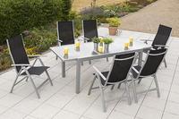 MX Alu Gartenmöbel Set Carrara schwarz 7 tlg. Textilgewebe