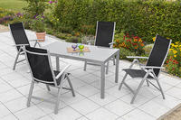 MX Alu Gartenmöbel Set Carrara III schwarz 5 tlg. Textilgewebe
