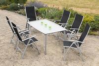 MX Alu Gartenmöbel Set II Carrara schwarz 7 tlg. Textilgewebe