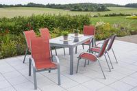 MX Alu Gartenmöbel Set Amalfi 7 tlg. terracotta, Textilbespannung