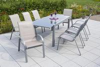 MX Alu Gartenmöbel Set Amalfi 9 tlg. champagner, Textilbespannung