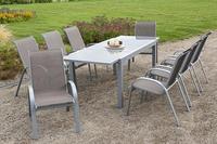 MX Alu Gartenmöbel Set Amalfi 9 tlg. taupe, Textilbespannung