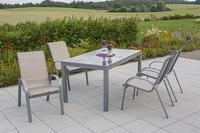 MX Alu Gartenmöbel Set Amalfi I 5 tlg. champagner, Textilbespannung