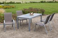 MX Alu Gartenmöbel Set Amalfi I 5 tlg. taupe, Textilbespannung