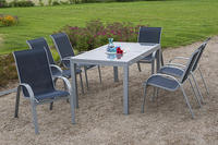 MX Alu Gartenmöbel Set Amalfi I 7 tlg. marineblau, Textilbespannung