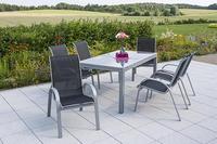 MX Alu Gartenmöbel Set Amalfi I 7 tlg. schwarz, Textilbespannung