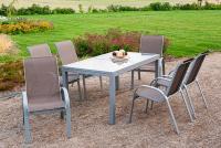 MX Alu Gartenmöbel Set Amalfi 7 tlg. taupe, Textilbespannung