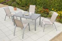 MX Alu Gartenmöbel Set Amalfi II 5 tlg. champagner, Textilbespannung
