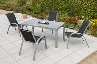 MX Alu Gartenmöbel Set Amalfi II 5 tlg. schwarz , Textilbespannung