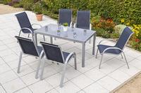MX Alu Gartenmöbel Set Amalfi II 7 tlg. marineblau, Textilbespannung