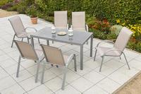 MX Alu Gartenmöbel Set Amalfi II 7 tlg. champagner, Textilbespannung