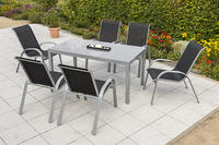 MX Alu Gartenmöbel Set Amalfi II 7 tlg. schwarz, Textilbespannung