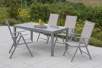 MX Alu Gartenmöbel Set Amalfi IIII 5 tlg. champagner, Textilbespannung
