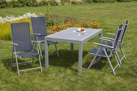 MX Alu Gartenmöbel Set Amalfi V 5 tlg. marineblau, Textilbespannung