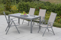 MX Alu Gartenmöbel Set Amalfi V 5 tlg. champagner, Textilbespannung