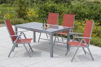 MX Alu Gartenmöbel Set Amalfi V 5 tlg. terracotta, Textilbespannung