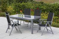 MX Alu Gartenmöbel Set Amalfi V 5 tlg. schwarz , Textilbespannung