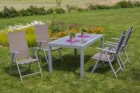 MX Alu Gartenmöbel Set Amalfi V 5 tlg. taupe, Textilbespannung