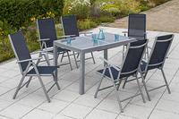 MX Alu Gartenmöbel Set Amalfi IIII 7 tlg. marineblau, Textilbespannung