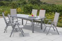 MX Alu Gartenmöbel Set Amalfi IIII 7 tlg. champagner, Textilbespannung
