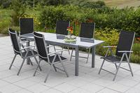 MX Alu Gartenmöbel Set Amalfi IIII 7 tlg. schwarz , Textilbespannung
