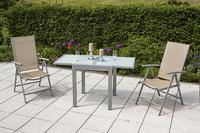 MX Alu Gartenmöbel Set Amalfi 3 tlg. champagner, Textilbespannung