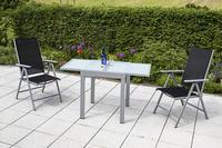 MX Alu Gartenmöbel Set Amalfi I 3 tlg. schwarz , Textilbespannung