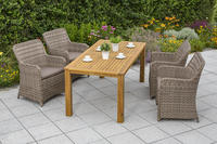 MX Gartenmöbel Set I Riviera 5 tlg. inkl. Auflagen, PolyRattan