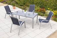 MX Alu Gartenmöbel Set Amalfi 5 tlg. marineblau, Textilbespannung