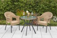 MX Gartenmöbel Ravenna Set 3 tlg., natur Polyrattan