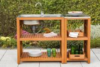 MX Gartenspüle Spültisch mit Sideboard FSC ® Eukalyptusholz geölt