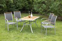 MX Gartenmöbel Siena 5tlg. Set Aluminium, Textilgewebe, Akazienholz