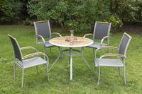 MX Gartenmöbel Siena I 5tlg. Set Aluminium, Textilgewebe, Akazienholz