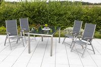 MX Gartenmöbel Ferrara 5tlg. Set Edelstahl/ Textilgewebe/ Akazienholz