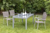 MX Gartenmöbel Savona 5tlg. Set Aluminium/ Kunststoffgeflecht