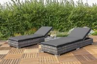 MX Gartenliege Single 5tlg. Rattan Multiliegen Set