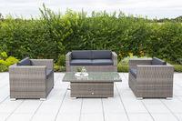 MX Gartenmöbel Bari Lounge Set 7 tlg. Polyrattan grau