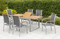 MX Gartenmöbel 7tlg. Esstichgruppe Siena Tisch 150/200x90