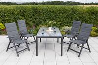 MX Gartenmöbel 5tlg. Esstischgruppe Taviano Alu Tisch 150x90cm