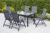 MX Gartenmöbel 7tlg. Esstischgruppe Taviano Alu Tisch 150x90cm