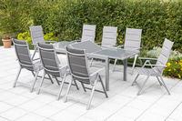 MX Gartenmöbel 9tlg. Esstischgruppe Taviano Alu Tisch 180/240x90cm