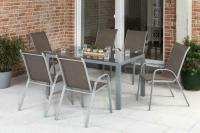 MX Gartenmöbel 7tlg. Esstischgruppe Sorrento silber/taupet Tisch 150x90cm