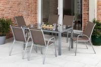 MX Gartenmöbel 7tlg. Esstischgruppe Sorrento silber/taupet Tisch 160x90cm