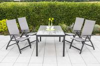 MX Gartenmöbel 5tlg. Esstischgruppe Vicenza Alu, Tisch 150x90 cm
