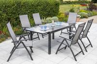 MX Gartenmöbel 7tlg. Esstischgruppe Vicenza Alu, Tisch 180/240x100 cm