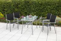 MX Alu Gartenmöbel Milano Set 5tlg. Esstischgruppe 4x Sessel und Tisch 120 x 70 cm silber/schwarz