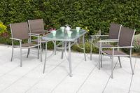 MX Alu Gartenmöbel Milano Set 5tlg. Esstischgruppe 4x Sessel und Tisch 120 x 70 cm silber/taupe