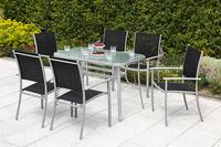 MX Alu Gartenmöbel Milano Set 7tlg. Esstischgruppe 6x Sessel und Tisch 120 x 70 cm silber/schwarz