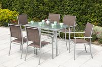 MX Gartenmöbel Milabo Set Esstischgruppe 7 tlg. Tisch 120x70 cm