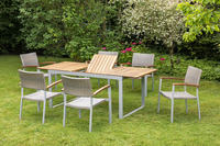 MX Gartenmöbel 7tlg. Esstischruppe Silano FSC ® Akazienholz Tisch 150/200x90